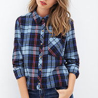 FOREVER 21 Tartan Plaid Flannel Shirt Dark Navy/Blue
