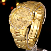 Luxury  Unisex Geneva Stainless Steel Quartz Wrist Watch (Color: Gold) = 1956593604