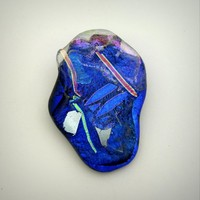 Organic Dichroic Cobalt Blue Multi-Layered Brooch with Floating Bits