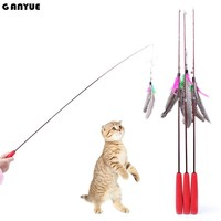 Ganyue Feather Head Wand Stick Feather Mouse Bottom Sucker Toys Cat Teaser Retractable Cat Stick for Pet Kitten Interactive