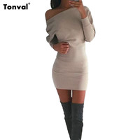 Tonval Sexy One Shoulder Dress Women Casual Batwing Sleeve Dress Autumn Winter Long Sleeve Bodycon Sexy Dresses