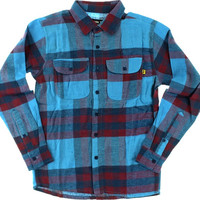 Vol4 Jinx Longsleeve Flannel XLarge Blue/oxblood Button-up