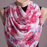 Scarf,Red Flowers Summer Spring Scarf,Infinity Scarf,Chiffon Scarf,Lightweight,Scarves For Women,Fashion Accessories,Womens Scarves,Gift
