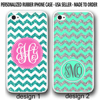 PERSONALIZED MINT CHEVRON W/OUT GLITTERS MONOGRAM CASE FOR IPHONE 7+ 7 6S 6 SE 5