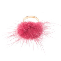 Hot Pink Furry Pom Ring