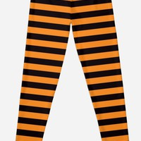 'Black and orange stripes Halloween witch leggings' Leggings by Mhea