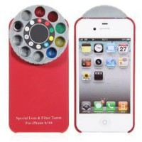 Wonderful Kaleidoscope Special Lens and Filter Turret Back Cover for Iphone 4/4s(red)