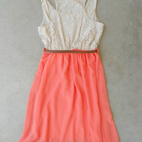 Apricot & Lace Dress [6087] - $34.00 : Feminine, Bohemian, & Vintage Inspired Clothing at Affordable Prices, deloom