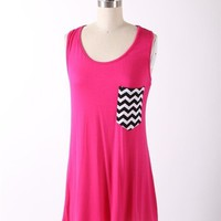 Raceback Tank Top with Chevron Pocket