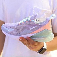 Nike Air Max 270 Flyknit Popular Women Casual Sport Running Shoes Sneakers Light Purple&Green
