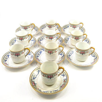Vintage Noritake Demitasse Set, Chanlake Pattern, 10 Cups and Saucers from the 1930s