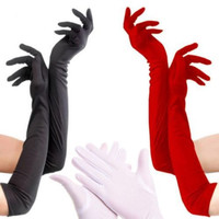 1 Pair Chic Lady Womens Party Fancy Dress Opera Prom Long Satin Stretch Gloves