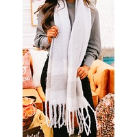 Where She Goes Fringe Scarf (Chambray)