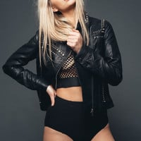 Living on the edge studded faux leather moto jacket