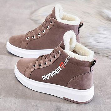 Winter Ankle Boots Women Warm Thick Plush Suede Snow Boots Female Sneakers Fur Shoes Women Botines