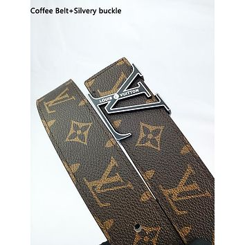 Inseva Louis Vuitton LV fashion printed gold and silver buckle belt hot seller for men and women's casual belts Coffee Belt+Silvery buckle