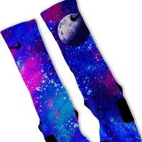 Galaxy Moon Custom Nike Elite Socks