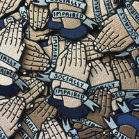 """Socially Impaired Prayer Hands // Iron - On Patch // 3"""" Embroidered Patch // Funny - Jacket Patch - Badge"""
