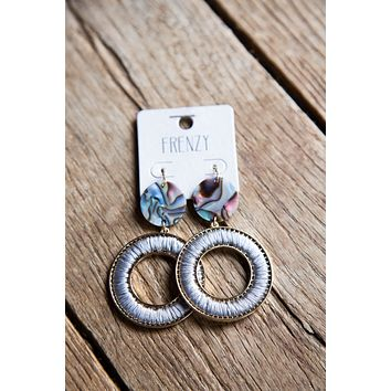 Terra Thread and Abalone Circle Earrings, Grey