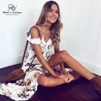 Bread&Buttons new summer dress plus size designer dresses 2017 high quality sleeveless waist Short  bohemian beach dress 2xl