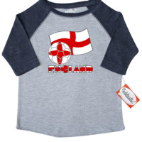 English Soccer Ball and Flag Toddler T-Shirt Heather and Navy $22.99 ink.flagnation.com