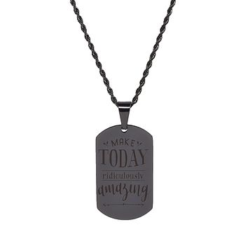 Solid Stainless Steel Inspirational Tag Necklace in Black by Pink Box