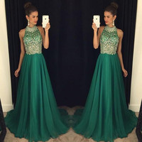 elegant luxury green prom dresses 2016 high neck long crystal beaded women pageant evening gown for formal party vestido festa