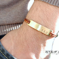 Personalized brass ID leather bracelet. Men's leather bracelet. Custom hand stamped bracelet. Initial bracelet.