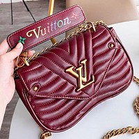LV Louis Vuitton Fashion Leather Chain Shopping Leisure Shoulder Bag Women Burgundy