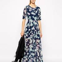 BCBGeneration Maxi Dress in Floral Print with Open Back