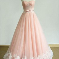 Blush Pink Prom Dress Lace Applique Prom Dress Tulle Ball Gown Evening Formal Gowns Blush Wedding Dress