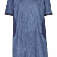 MOTO Contrast Denim Tee Dress - Mid Stone