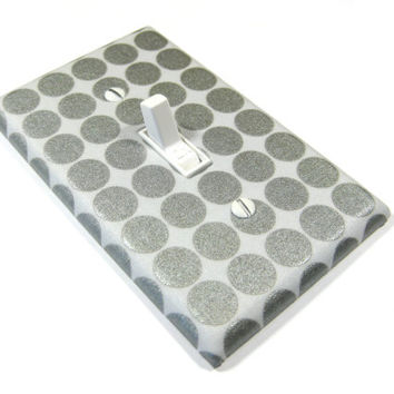 Silver Shimmer Metallic Polka Dots Light Switch Cover Gray Home Decor Switchplate Switch Plate Decoration