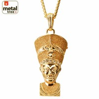 """Jewelry Kay style Fashion Mini Iced Out Egyptian Pharaoh Pendant 30"""" 4 mm Cuban Chain Necklace Set"""