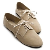 Ollio Women's Ballet?Flat Shoe Faux Suede Lace Up Oxford(6 B(M) US, Taupe)