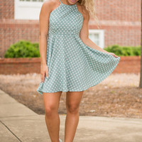 A Dot Like Love Dress, Sage
