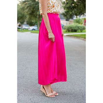 Barbie Pink Pleated Maxi Skirt