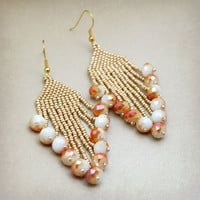 Gold And Peach Beaded Dangle Earrings