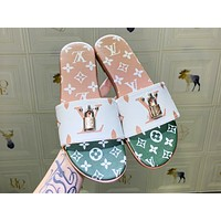 LV hot color print lady casual lock accessories slippers