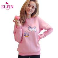 Pink Unicorn Women Hoodies Sweatshirt Crop Top Tee Shirt Femme Vetemen Mujer Autumn Winter Women Clothes LJ5323S
