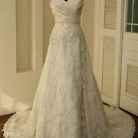 New Vintage Ivory Lace Train Bridal Gown Wedding Party Evening Dresses - Basadress.com