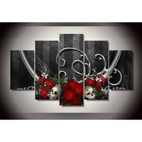 Skulls and Roses 5pc Canvas