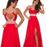 Formal Red Chiffon Evening Ball Cocktail Prom Dress Bridesmaid Dresses Gown (Us2, Red)
