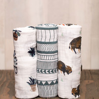 Cotton Swaddle Set - Bison