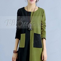 Color Block Round Neck Long Sleeve Women's Casual Dress (Plus Size Available)