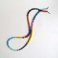 Long beaded necklace multi-colored glass Native American 'crow' beads summer fashion boho trends An Astrid Endeavor