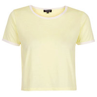 Contrast Trim Cropped Tee - Yellow