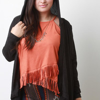 Hoodie Ribbed Knit Cardigan Sweater