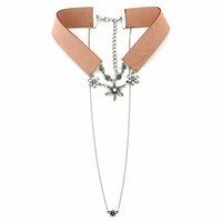 DARY - Vintage leather choker pendant layered necklace