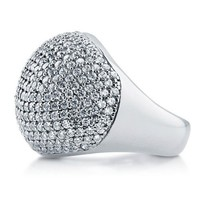 Cubic Zirconia CZ 925 Sterling Silver Disco Ball Domed Cocktail Ring #r805